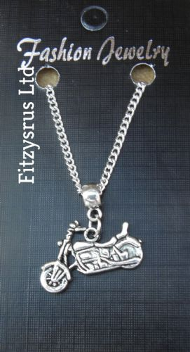 "18"" 24"" Inch Chain Necklace & Motorbike Pendant Charm - Biker Motorcycle Gift"